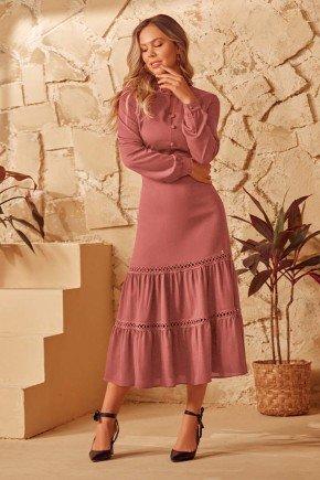 vestido rose detalhe entremeio e babados via tolentino