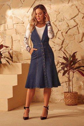 vestido jeans com pences e botoes encapados via tolentino