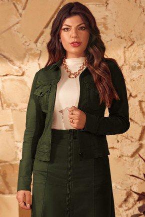 jaqueta verde escuro com recortes e bolsos frontais via tolentino cima