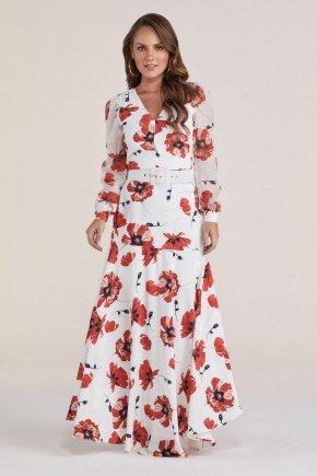 vestido longo floral com cinto titanium jeans
