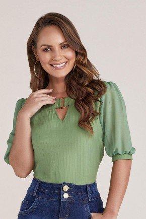 blusa verde mangas 3 4 transparentes titanium jeans cima