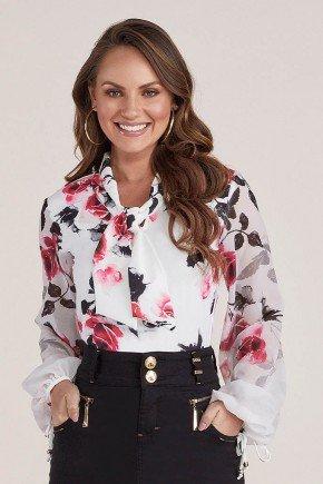 camisa feminina floral gola laco titanium jeans cima