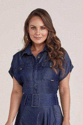 camisa feminina jeans escuro titanium jeans cima