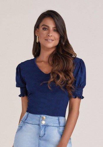 blusa azul escuro em malha denim titanium jeans cima