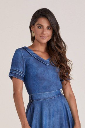 blusa azul jeans detalhe em preguinhas titanium jeans cima