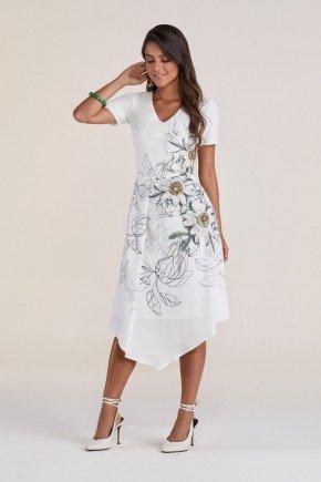 vestido branco assimetrico floral titanium jeans