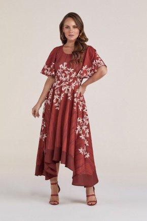 vestido vermelho floral assimetrico titanium jeans