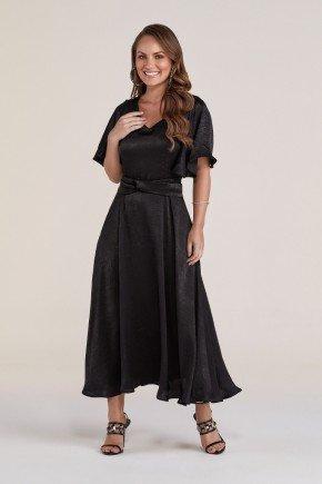 vestido preto gode acetinado titanium jeans