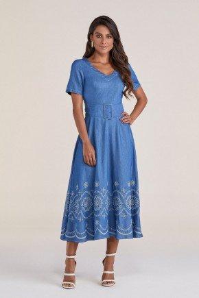 vestido azul gode com bordados industriais titanium jeans