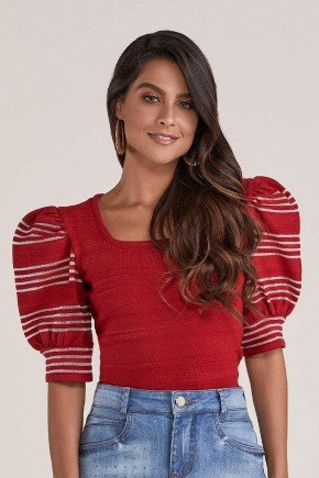 blusa vermelha mangas bufantes titanium jeans cima