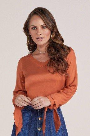 blusa mangas longas com amarracao titanium jeans cima
