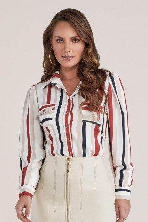camisa feminina off white listrada titanium jeans cima