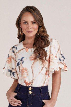 blusa bege floral mangas flare titanium jeans cima