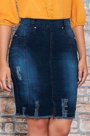 saia jeans escuro barra a fio nitido jeans baixo