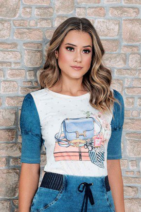 blusa t shirt estampada com manga jeans nitido cima