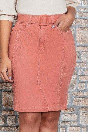 saia jeans telha com cinto encapado nitido baixo