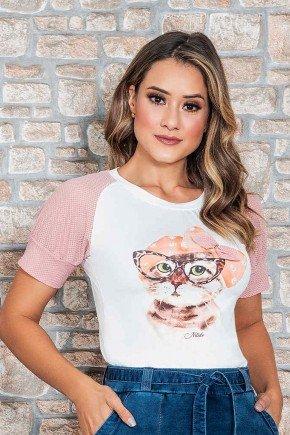 blusa estampada off white com manga em renda nitido cima