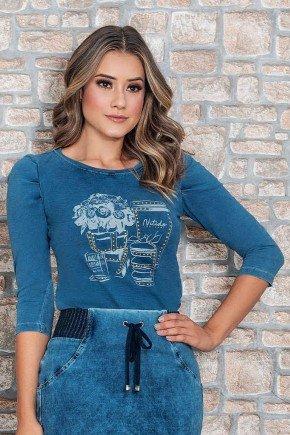 blusa manga 3 4 em malha jeans nitido cima