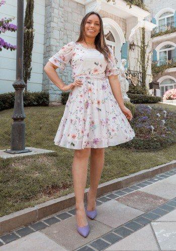 vestido gode floral em tule jany pim