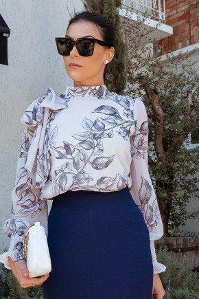 blusa manga longa estampada com babado jany pim cima