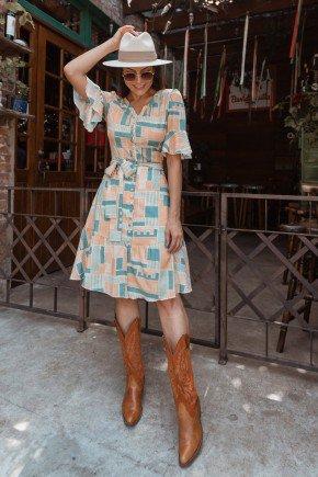 vestido gode creme estampa exclusiva jany pim