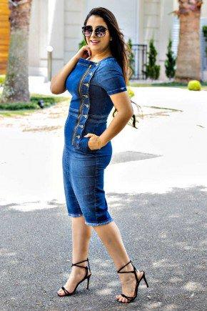 vestido tubinho jeans botoes laterais raje jeans