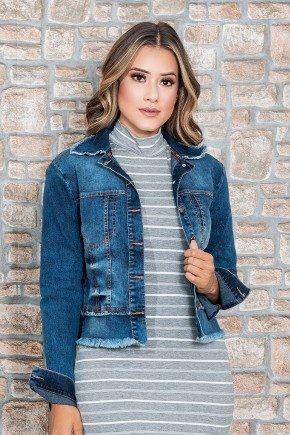 jaqueta feminina jeans com barra a fio nitido cima