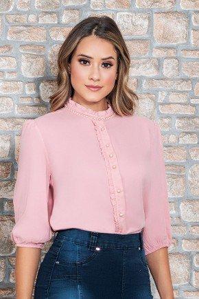 camisa rose gola alta bordada nitido jeans cima
