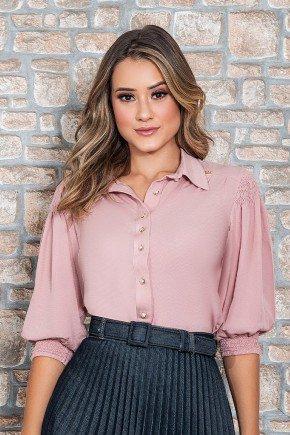camisa rose romantica manga 3 4 nitido jeans cima