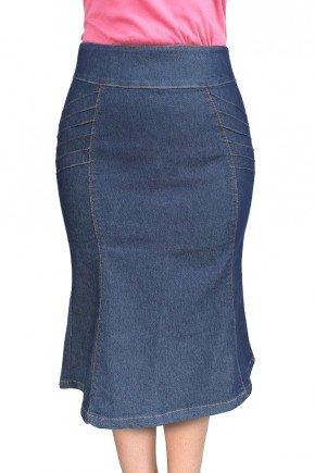 saia jeans escuro evase com nervuras dyork