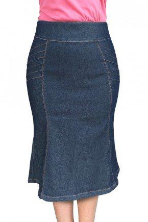 saia jeans evase com nervuras dyork jeans