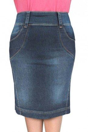 saia jeans escuro recortes nas laterais dyork jeans