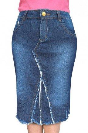 saia jeans com barra desfiada dyork