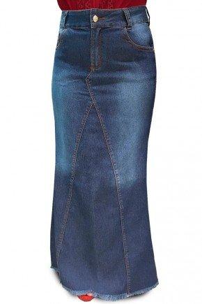 saia longa jeans escuro nowash barra desfiada dyork