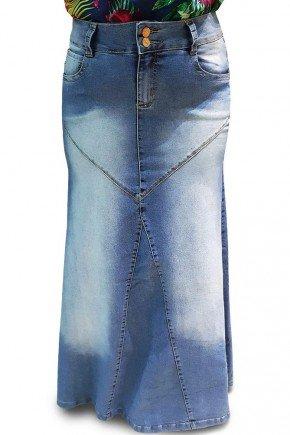 saia longa jeans evase com recorte dyork