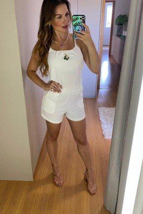conjunto feminino off white cintura alta cloa