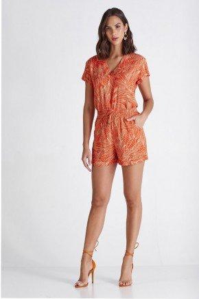 conjunto feminino laranja estampado cloa
