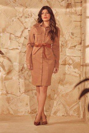 vestido marrom botoes e bolsos frontais via tolentino