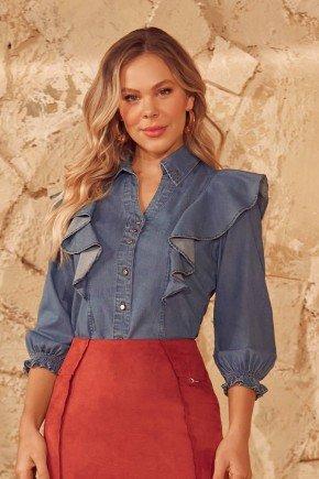 camisa feminina babados e punhos ajustados via tolentino cima