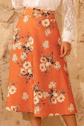 saia gode laranja floral com cinto via tolentino