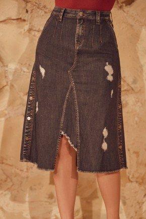 saia jeans gancho aparente botoes laterais via tolentino