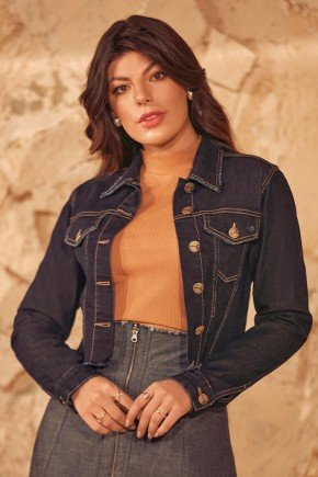 jaqueta jeans marinho abotoamento frontal via tolentino