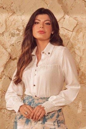 camisa feminina off white com detalhe em lastex via tolentino