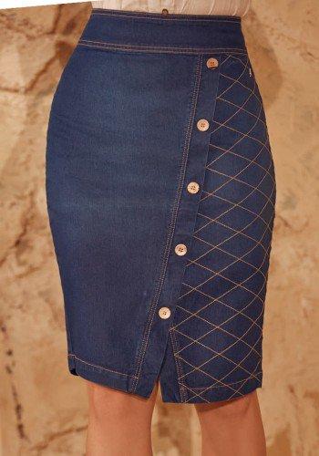 saia jeans com botoes e bordados via tolentino