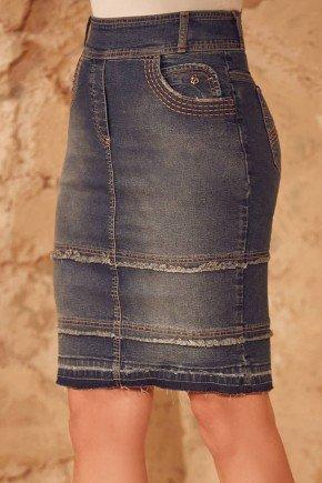 saia jeans com barra desmanchada via tolentino