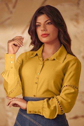 camisa feminina amarelo com entremeios via tolentino
