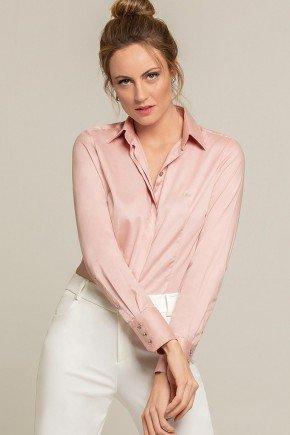 camisa social rose personalizada amber look frente