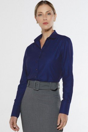 camisa social azul personalizada aniki look