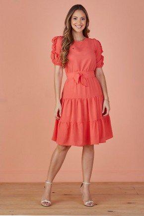 vestido coral evase babados nas mangas tata martello