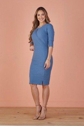 vestido azul canelado decote transpassado tata martello